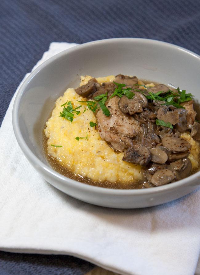 [Instant Pot] Double-Decker Chicken Marsala + Parmesan Polenta