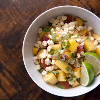Sweet Corn, Peach & Basil Salad