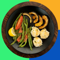 MyPlate Bake #4: Greek Turkey Meatballs with Saucy Green Beans and Acorn Squash