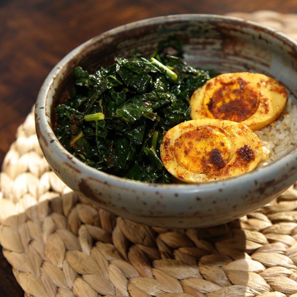 Masala Eggs with Spicy Kale