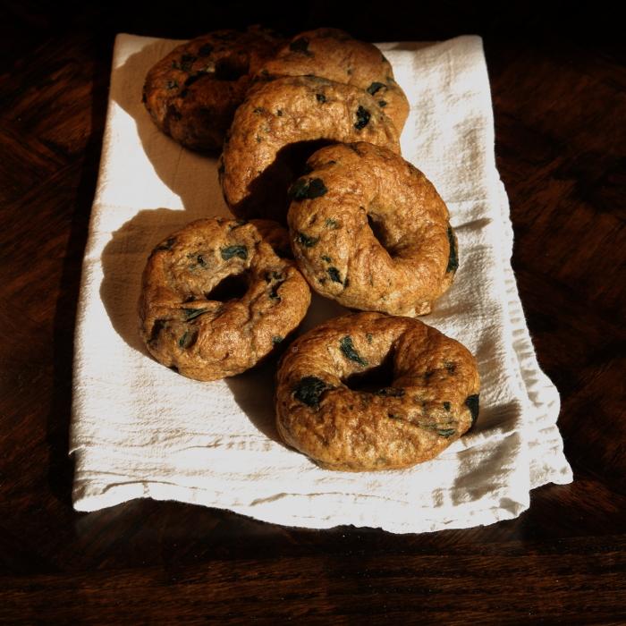 Whole-Wheat Garlic Kale & Feta Bagels