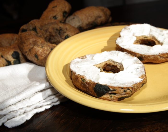 Whole-Wheat Garlic Kale & Feta Bagels