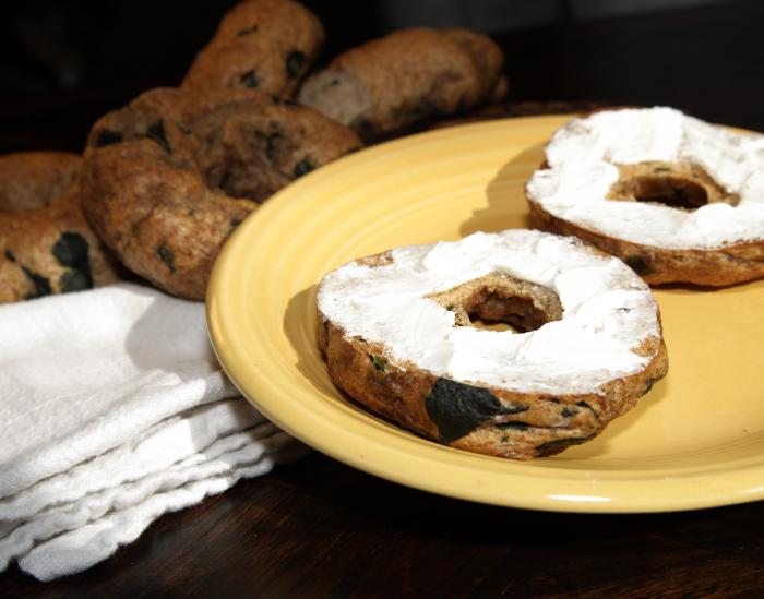 Garlic Kale & Feta Bagels
