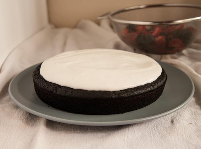 Dark Chocolate Cake with Berries & Coconut Cream