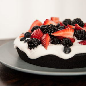 Dark Chocolate Cake with Berries and Coconut Cream