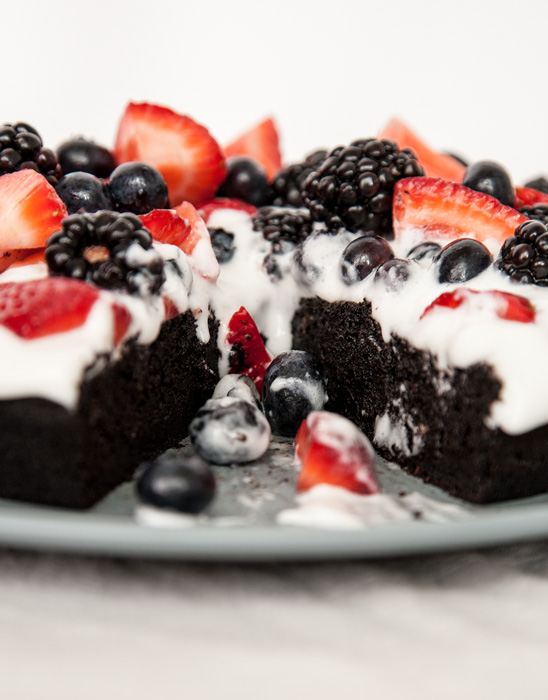 Dark Chocolate Cake with Berries & Coconut Cream