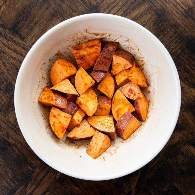 MyPlate Bake with Sriracha BBQ Roasted Sweet Potatoes
