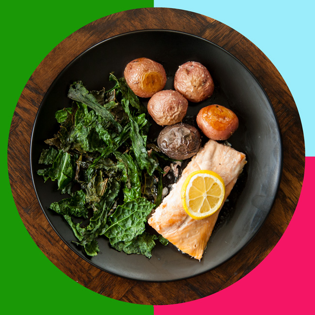 MyPlate Bake #3: SuperFood Salmon with Crispy Kale