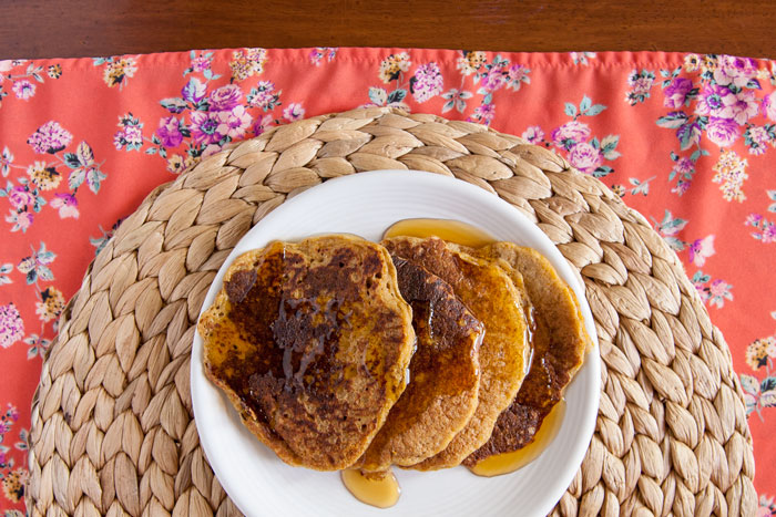 Whole Grain Sourdough Pumpkin Pancakes