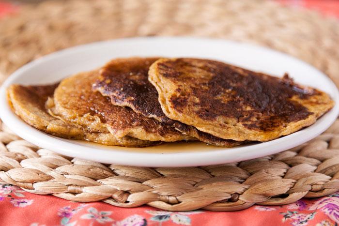 Whole Grain Sourdough Pumpkin Pancakes