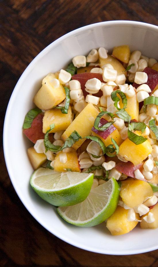 Sweet Corn, Peach & Basil Salad