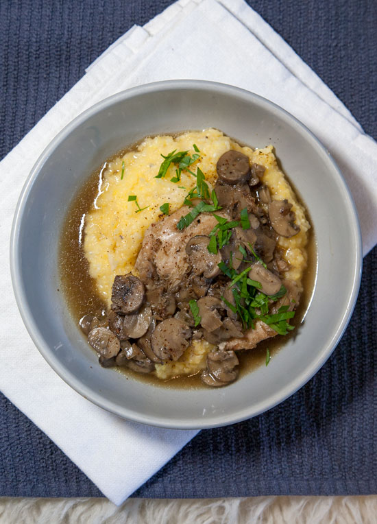 [Instant Pot] Double-Decker Chicken Marsala + Parmesan Polenta