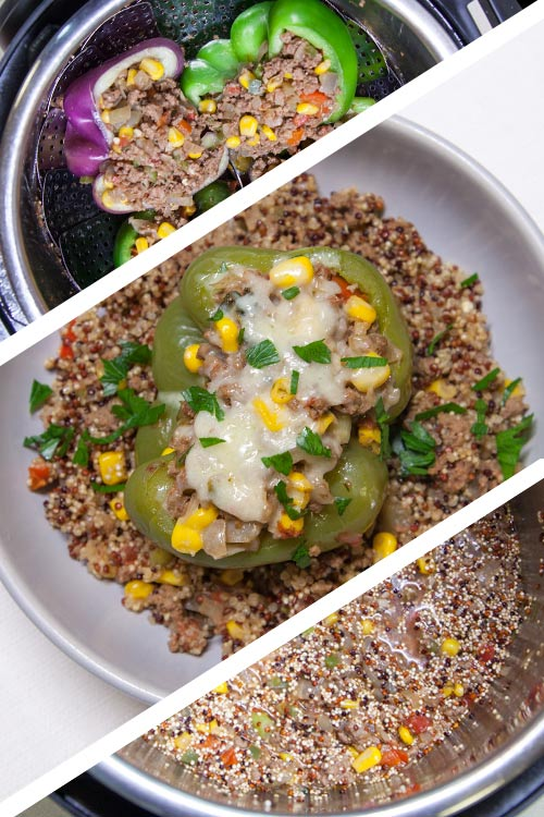 [Instant Pot] Double-Decker Cheesy Taco-Stuffed Peppers + Quinoa