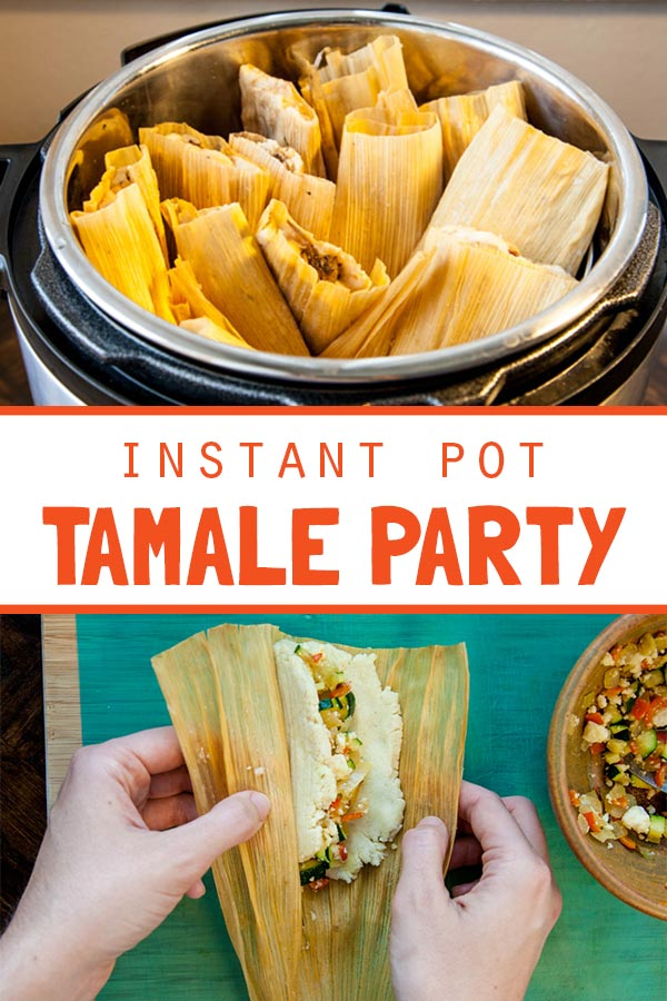 [Instant Pot] Tamale Party! Your pressure cooker makes this traditional treat much faster and easier to prepare. Get your people together, pour some margaritas, have fun rolling up your favorite fillings, and send everyone home with homemade tamales! Long live InstaPot!!