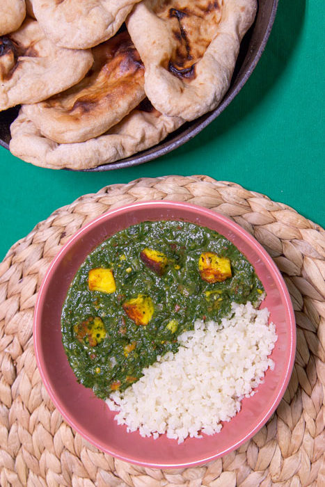 [Instant Pot] Double-Decker Saag Paneer + Cauliflower Rice