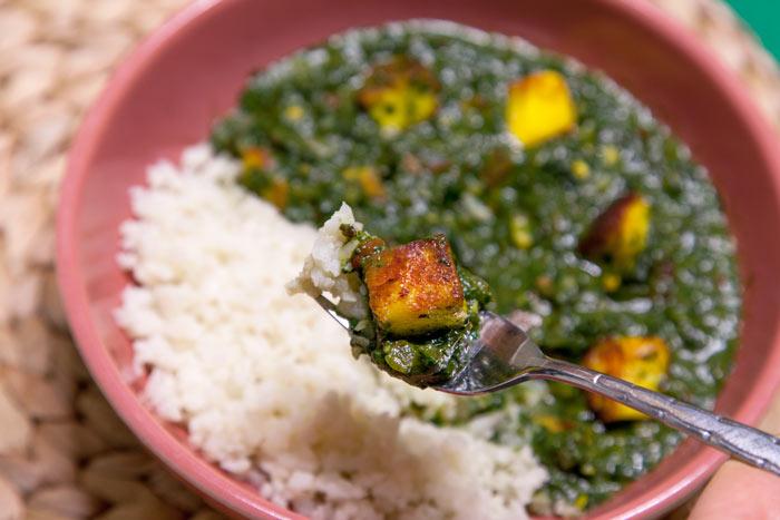 [Instant Pot] Double-Decker Saag Paneer + Cauliflower Rice